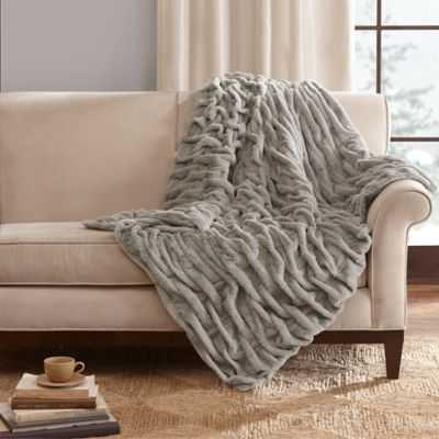 Madison Park Ruched Faux-Fur Throw in Grey - Bed Bath & Beyond
