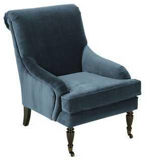 Oxford Velvet Chair, Navy - One Kings Lane