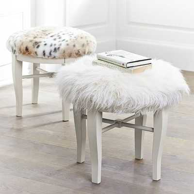 Glam Vanity Stool - Furrific White - Pottery Barn Teen