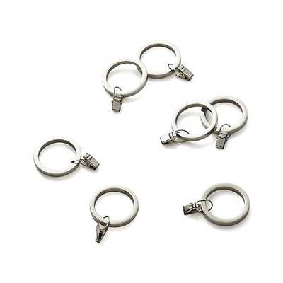 Set of 7 Polished Nickel Curtain Rings - Crate and Barrel
