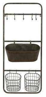 Metal Shelf w/ Baskets & Bin - One Kings Lane