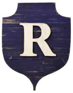 "Rustic Monogram Shield, Navy ""A"" - One Kings Lane"