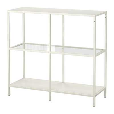 VITTSJÖ Shelving unit, white, glass - Ikea