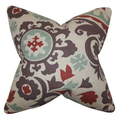 Wella Floral Gray Red Feather Filled 18-inch Throw Pillow - Overstock