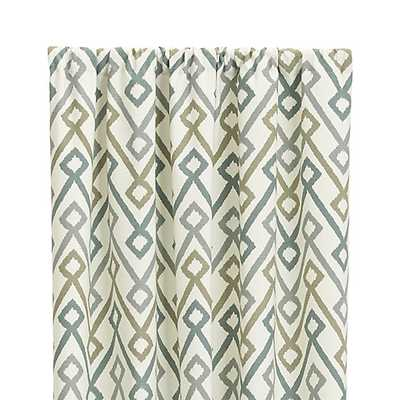 "Maddox 50""x96"" Khaki/Grey Curtain Panel - Crate and Barrel"