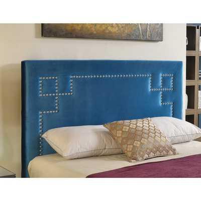 Abbyson Living Deco Blue Velvet Nailhead Trim Upholstered Headboard- Queen - Overstock