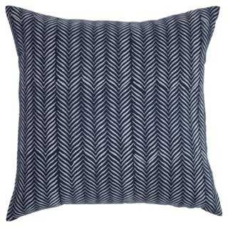 Printed 20x20 Linen Pillow, Navy, Down/Feather insert - One Kings Lane