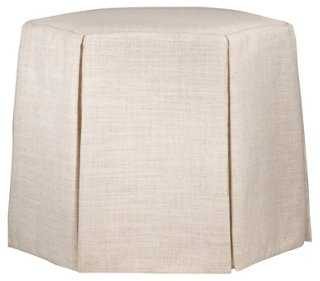 Nora Skirted Ottoman, Talc Linen - One Kings Lane