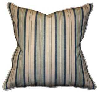 Dover Stripe 22x22 Cotton Pillow, Navy-feather/down Insert - One Kings Lane