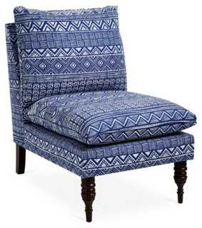 Bacall Slipper Chair, Indigo - One Kings Lane