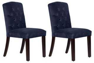 Lea Navy Velvet Tufted Side Chairs, Pair - One Kings Lane