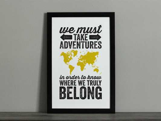 Adventures World Map Travel Poster - Graphic Poster Print - Etsy