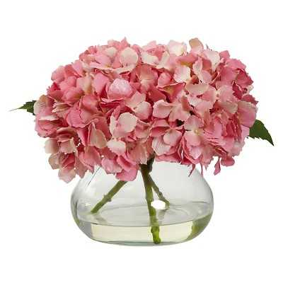 Nearly Natural Blooming Hydrangea with Vase - Target