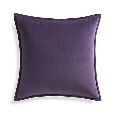 "Brenner Grape Purple 20"" Velvet Pillow with Feather-Down Insert - Crate and Barrel"