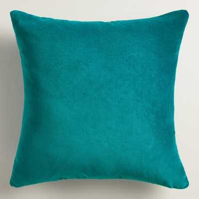 """Teal Velvet Throw Pillow- 24""""- Polyester fill insert - World Market/Cost Plus"""