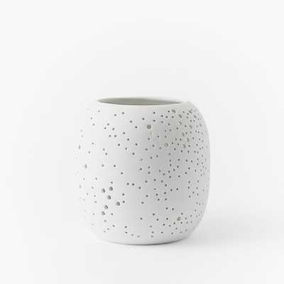 Constellation Pierced Porcelain Hurricane, Small, White - West Elm