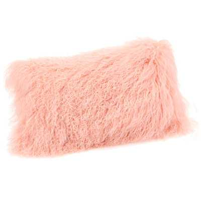 """Lamb Fur Lumbar Throw Pillow - Pink - 16"""" H x 20"""" W - Polyester filling - Wayfair"""
