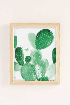 "The Aestate Green Paddle Cactus Art Print - 8"" x 10"" - Framed - Urban Outfitters"