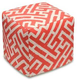 Lattice Linen Ottoman, Coral - One Kings Lane