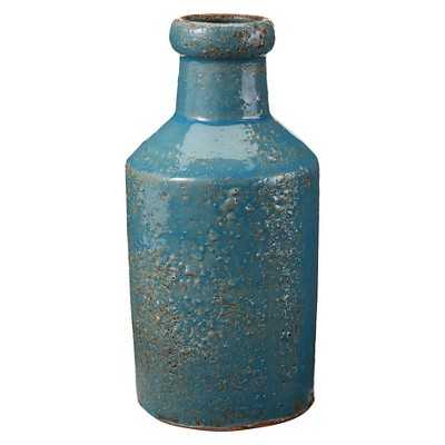 Antique Blue Milk Bottle Table Vase - Target