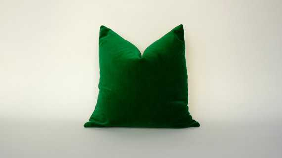 """Pillow case // green velvet cushion- 20"""" x 20""""- Insert Sold Separately - Etsy"""
