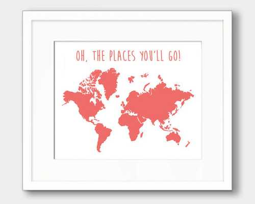 "OH THE PLACES YOU'LL GO - CORAL WORLD MAP PRINT - 4 x 6"" - Unframed - Etsy"