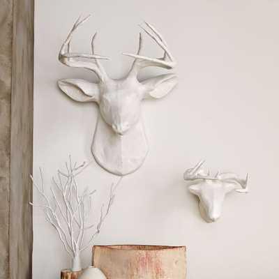 Papier-Mache Animal Sculptures - White Deer, Large - West Elm
