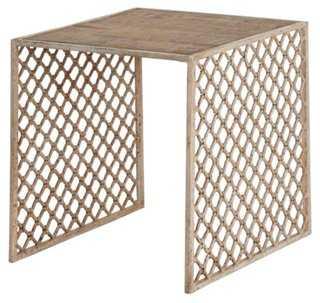 Jali Wood-Top Side Table - One Kings Lane