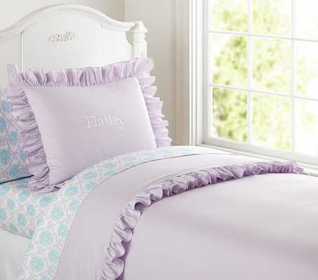 Ruffle Duvet Cover, Twin, Lavender - Pottery Barn Kids