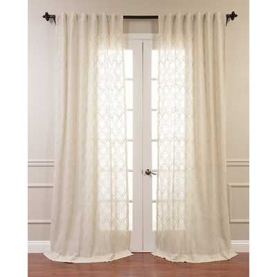 "aida Embroidered Faux Linen Sheer Single Curtain Panel 84"" - Wayfair"