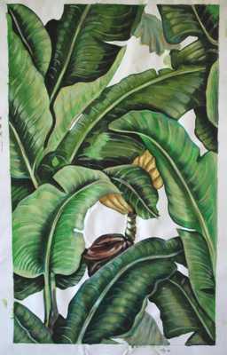 "Martinique wallpaper Banana leaves  Oil painting - 48x32""- Unframed - Etsy"