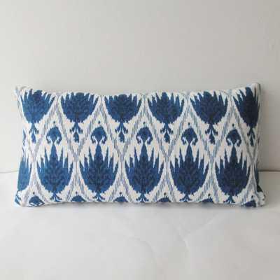 "Indigo Ikat Pillow Cover -12"" x 24""- Insert Sold Separately - Etsy"