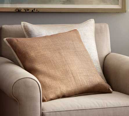 "Metallic Printed Flax Pillow Cover-20"" sq-GOLD-Insert sold separately - Pottery Barn"