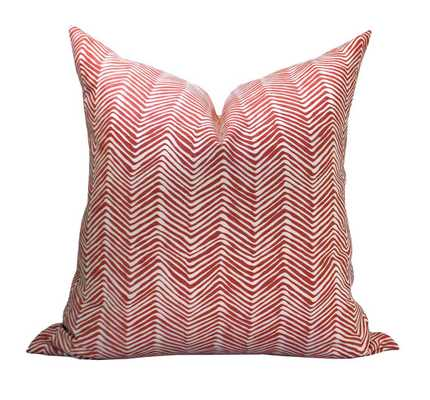 "Alan Campbell Petite Zig Zag pillow cover in Shrimp, 18"", no insert - Etsy"