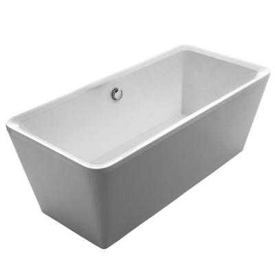 Bathhaus 5.6 ft. Lucite Acrylic Center Drain Rectangular Freestanding Bathtub in White - Home Depot