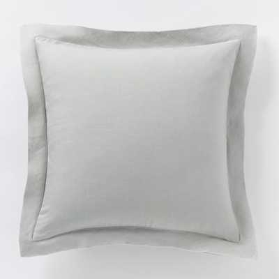 "Belgian Flax Linen Pillow Cover - Platinum - 18""sq. - Insert Sold Separately - West Elm"