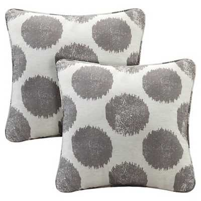 Roku Printed Dot Square Pillow - 2 Pack - Grey, 18x18, With Insert - Target