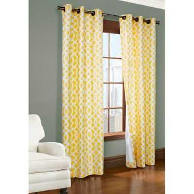 95-Inch Room-Darkening Grommet Window Curtain Panels in Yellow - Bed Bath & Beyond