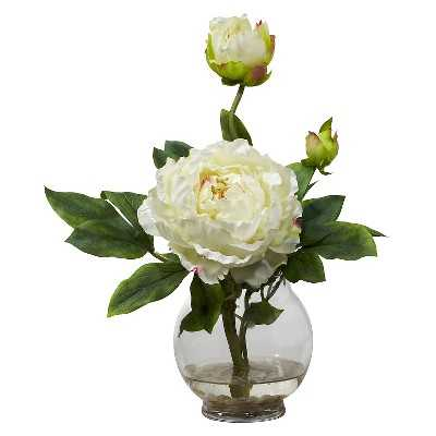 Nearly Natural Peony w/Fluted Vase Silk Flower Arrangement - Target