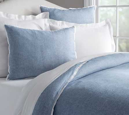 BELGIAN LINEN  DUVET COVER - Denim/White- King - Pottery Barn