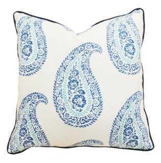Paisley 20x20 Linen-Blend Pillow, Blue - Feather down insert - One Kings Lane