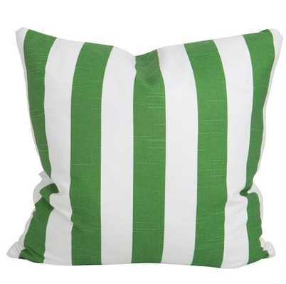 "Green Slub and White Stripe Pillow- 20"" x 20""- Down insert - Society Social"