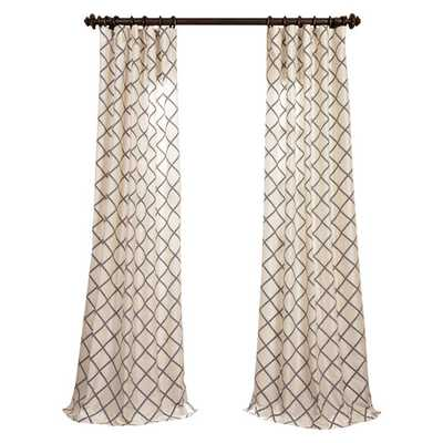 "Pavillion Flocked Faux Silk Single Curtain Panel - 84"" L x 50"" - AllModern"