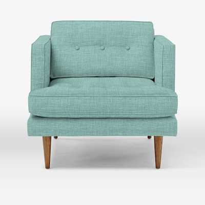 Peggy Mid- Century Armchair - Heathered Weave, Eucalyptus - West Elm