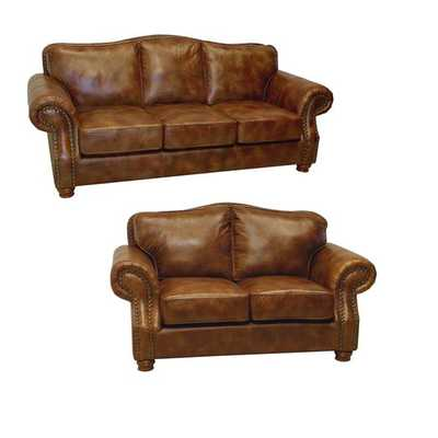 Brandon Distressed Whiskey Italian Leather Sofa and Loveseat - Overstock