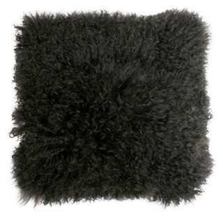 Mongolian 16x16 Lamb Pillow, Charcoal - One Kings Lane