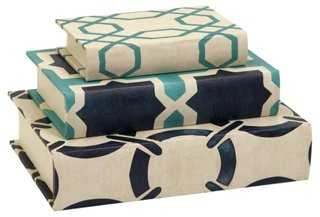 Asst. of 3 Hadley Book Boxes, Blue/Multi - One Kings Lane