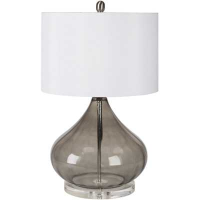 "Pyrus 15"" H Table Lamp with Drum Shade - Smoke - Wayfair"