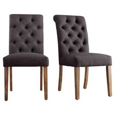 Inspire Q Gramercy Button Tufted Dining Chair - Charcoal (Set of 2) - Target