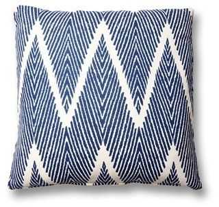 Nandi 20x20 Cotton-Blend Pillow, Navy - feather/down insert - One Kings Lane